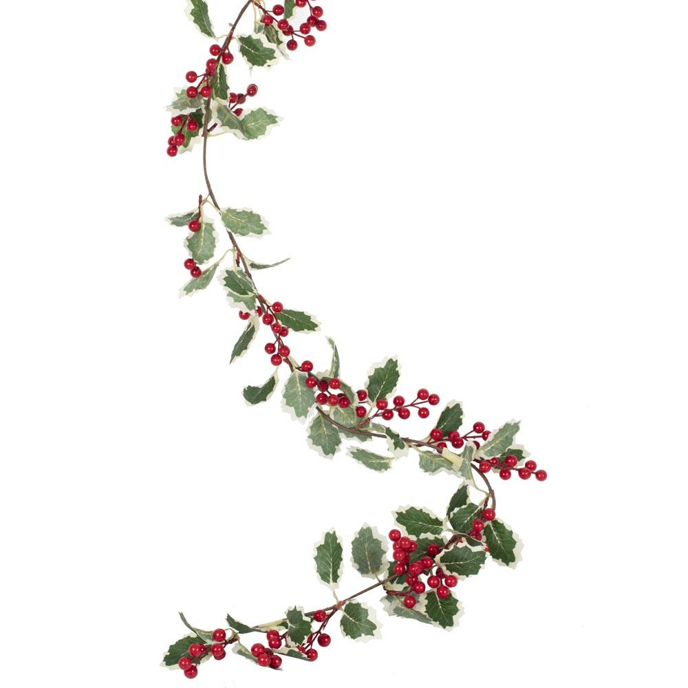 Holly and Berries Foliage Garland