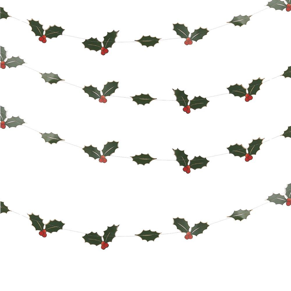 Foiled Holly Leaves Garland