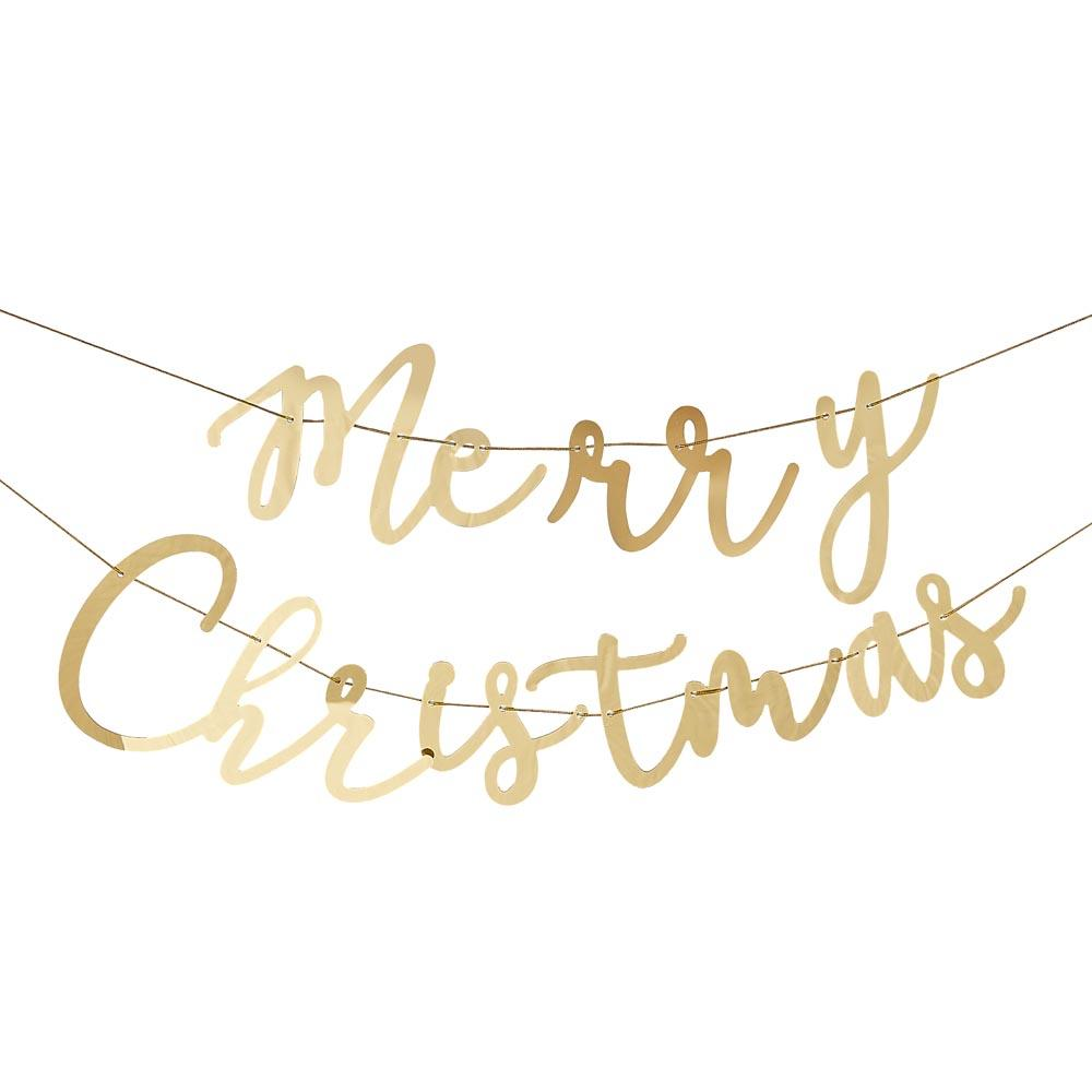 Gold Acrylic Merry Christmas Bunting (1.5m)