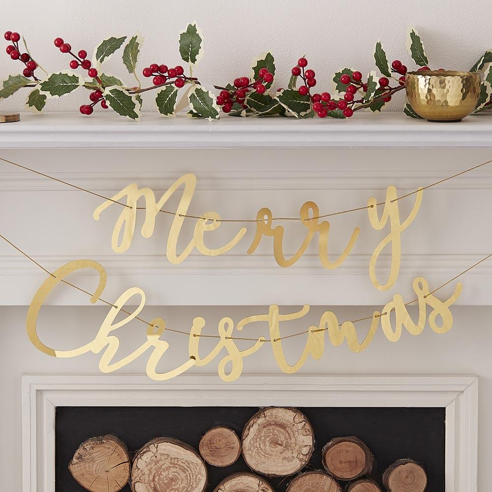 Click to view product details and reviews for Gold Acrylic Merry Christmas Bunting 15m.