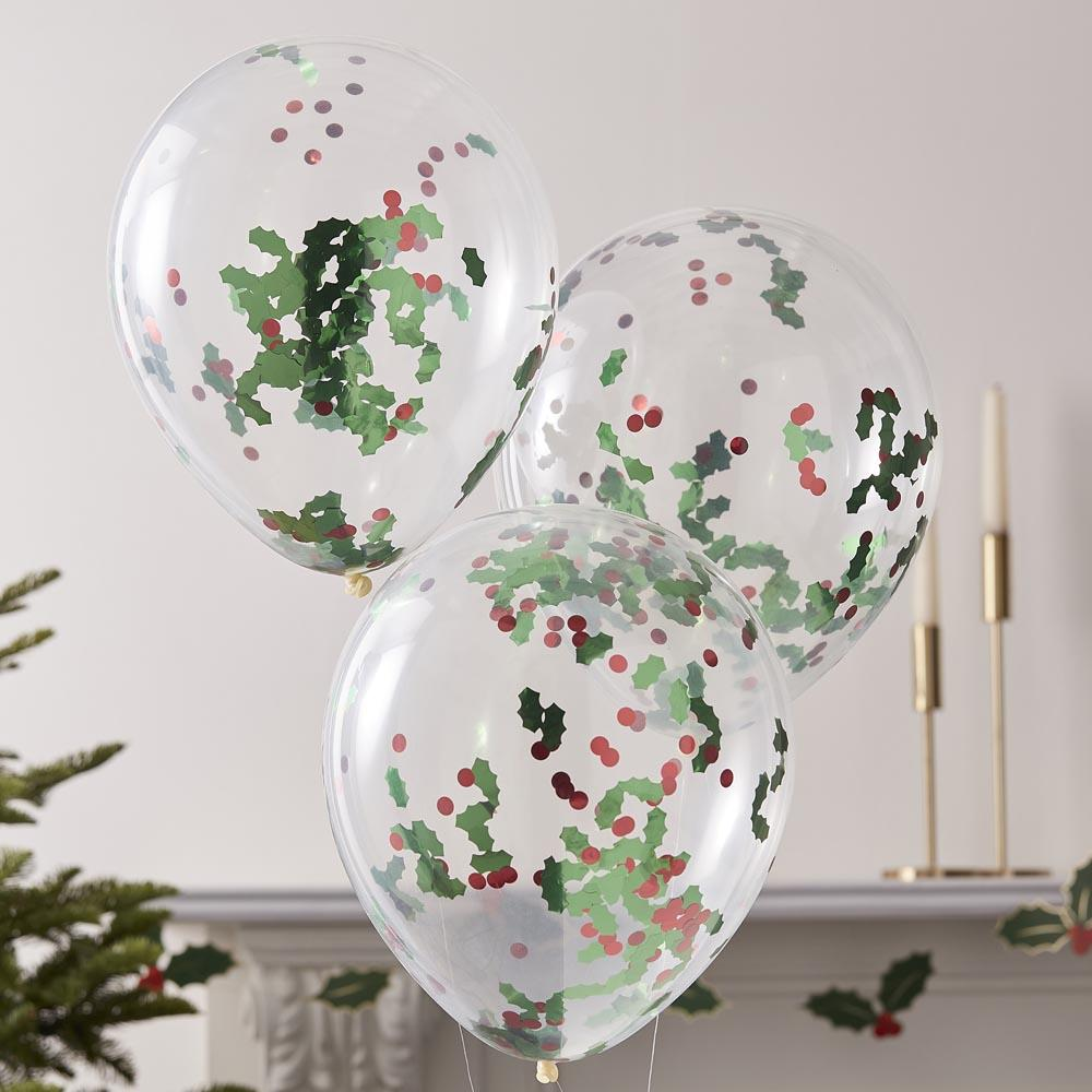 Holly and Berries Confetti Latex Balloons (x5)