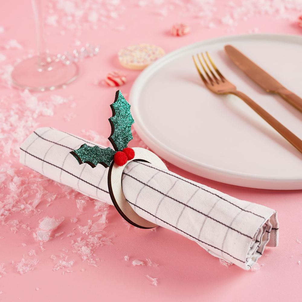 Holly Napkin Ring Holders
