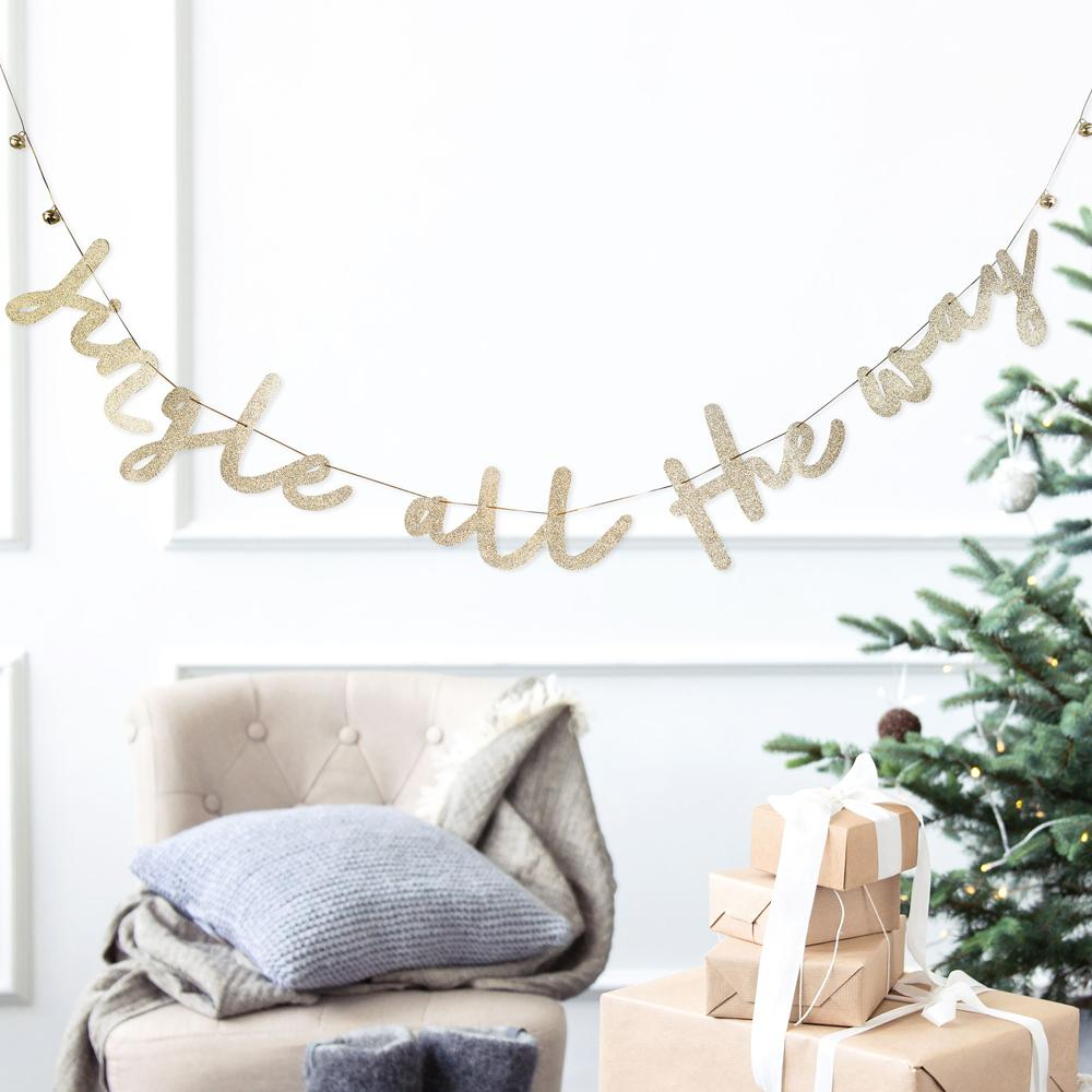 Jingle All the Way Gold Glitter Bunting
