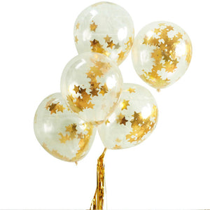 Gold Star Confetti Filled Balloons (x5)