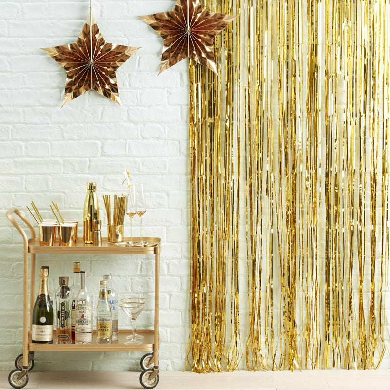 Fringe Backdrop Shimmery Gold
