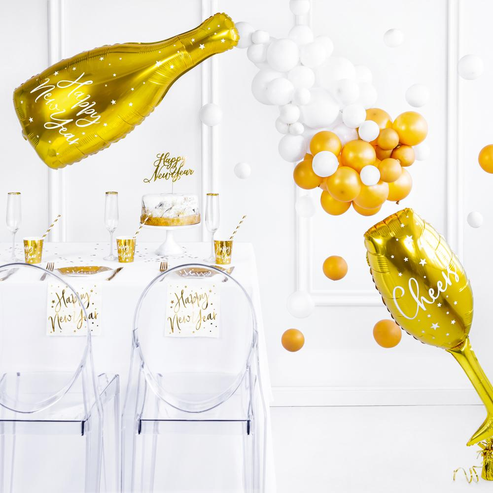 Happy New Year Bottle Foil Balloon - Gold