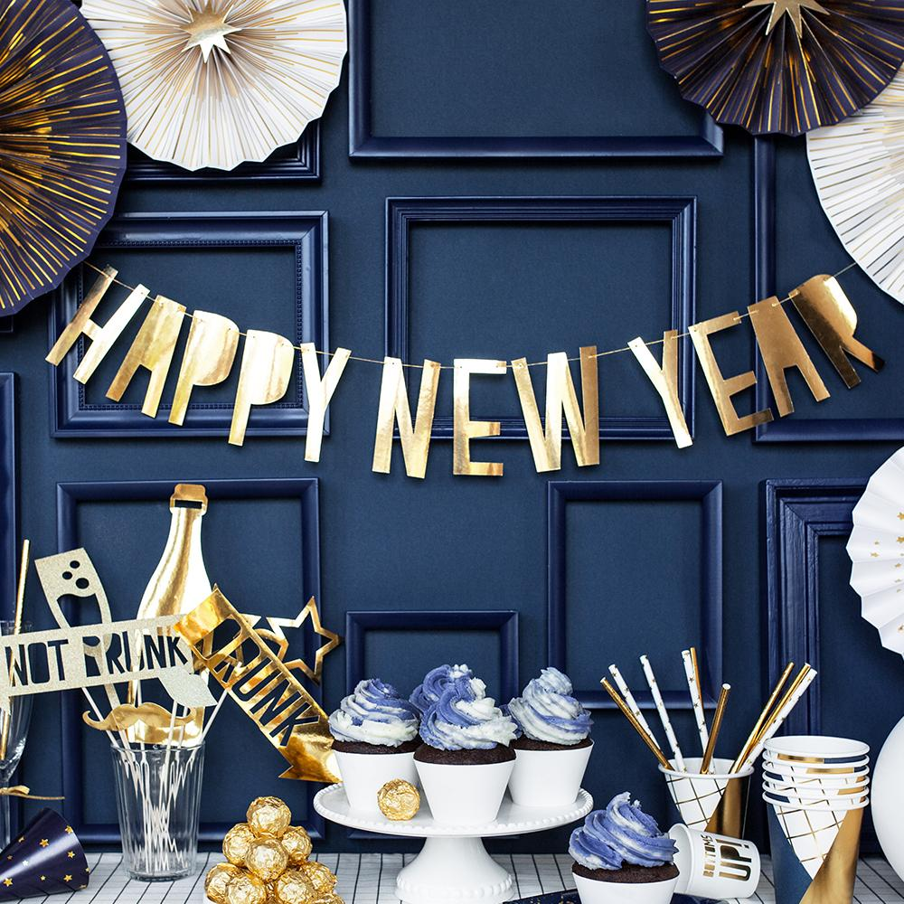 Click to view product details and reviews for Happy New Year Banner Gold.