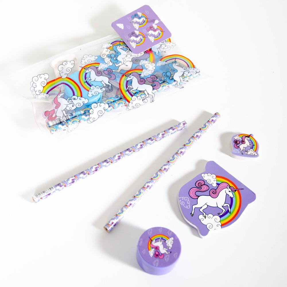 Unicorn 5 piece Pencil Case Set
