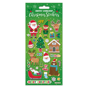Santas Workshop & Holly Christmas Sparkly Stickers