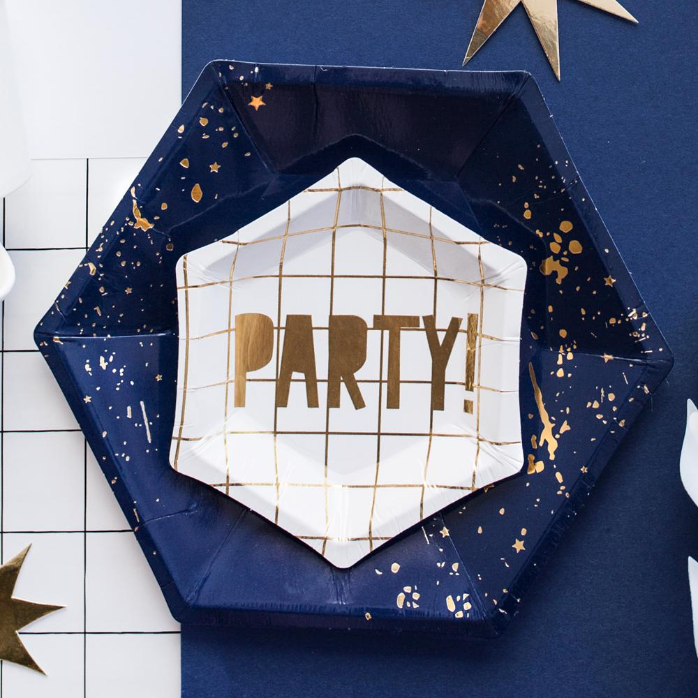 Click to view product details and reviews for White Grid New Years Eve Party Plates X6.