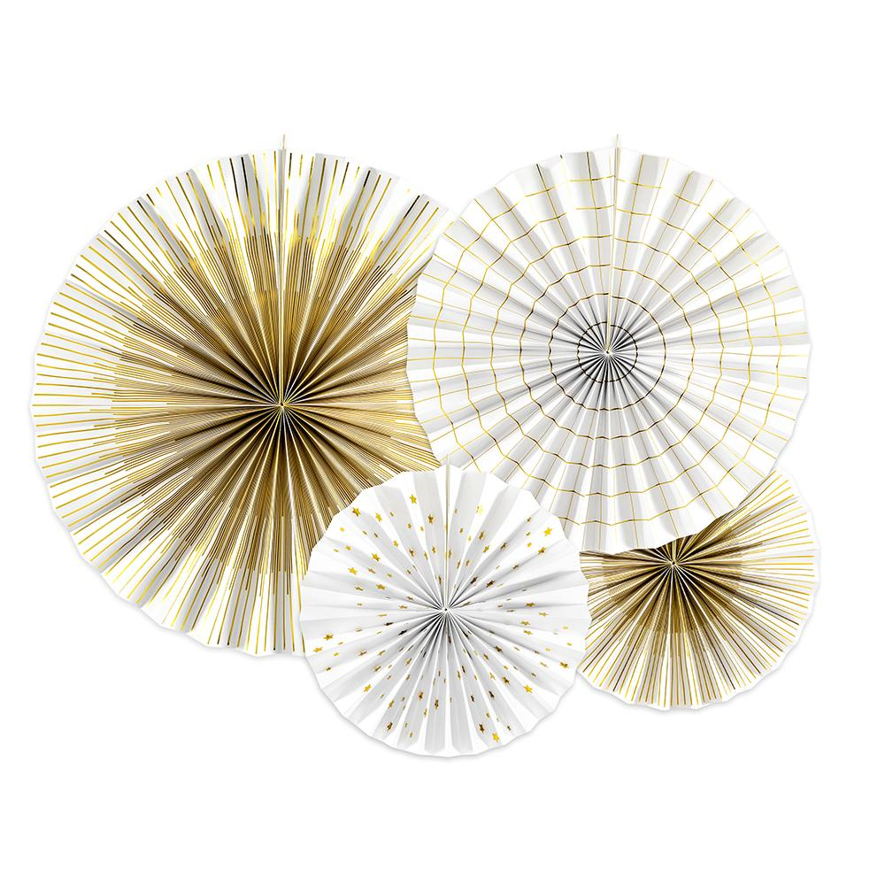White & Gold Decorative Rosettes (x4)