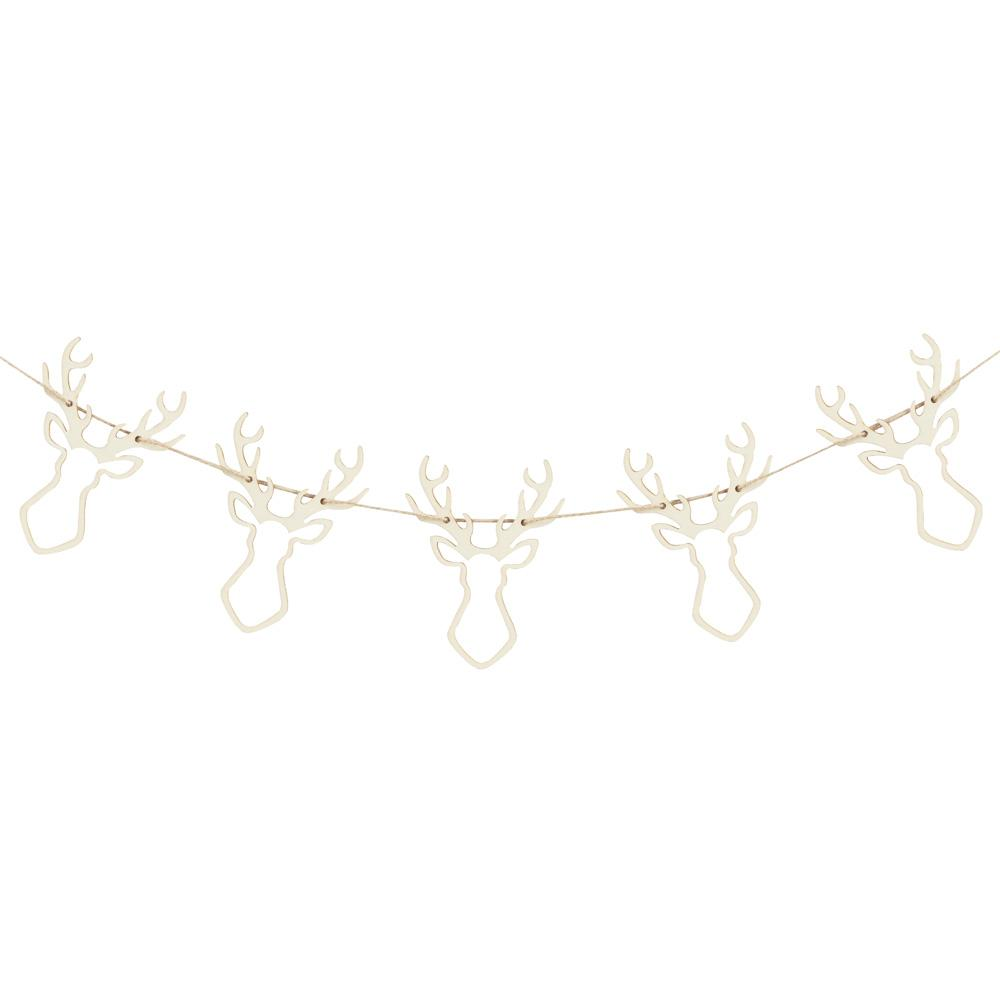 Wooden Stag Head Bunting (1.5m)