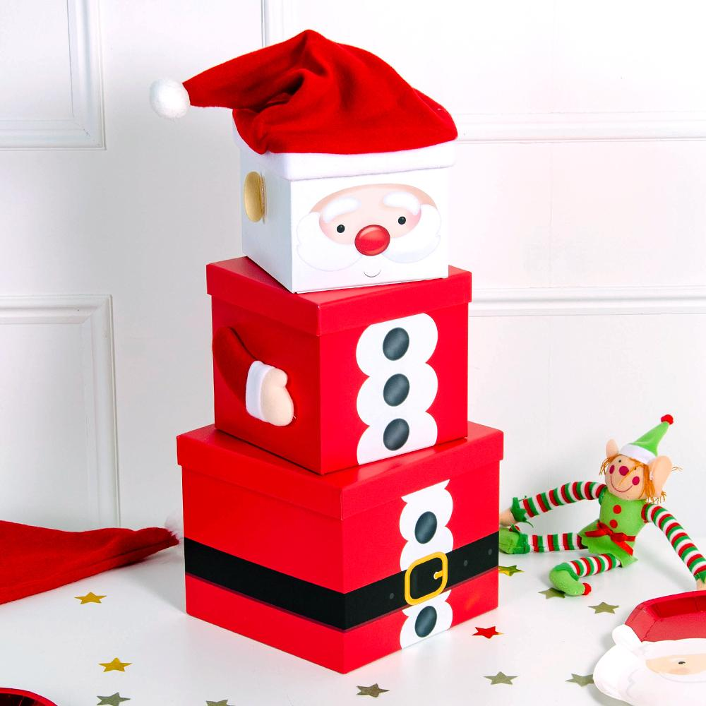 Stackable Santa Gift Boxes (x3)