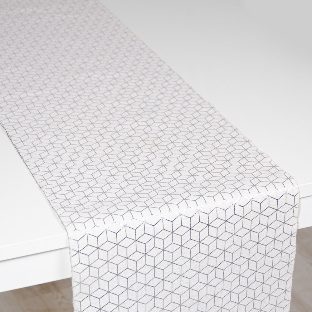 Table Runner - Geometric Silver (3m)