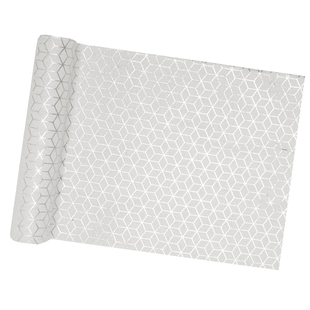 Geometric Silver Table Runner (3m)