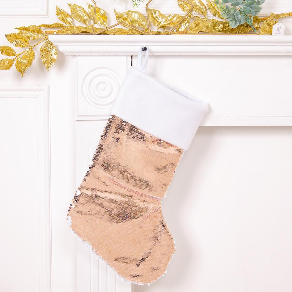 Two Tone Sequin Christmas Stocking Rose - Gold & White