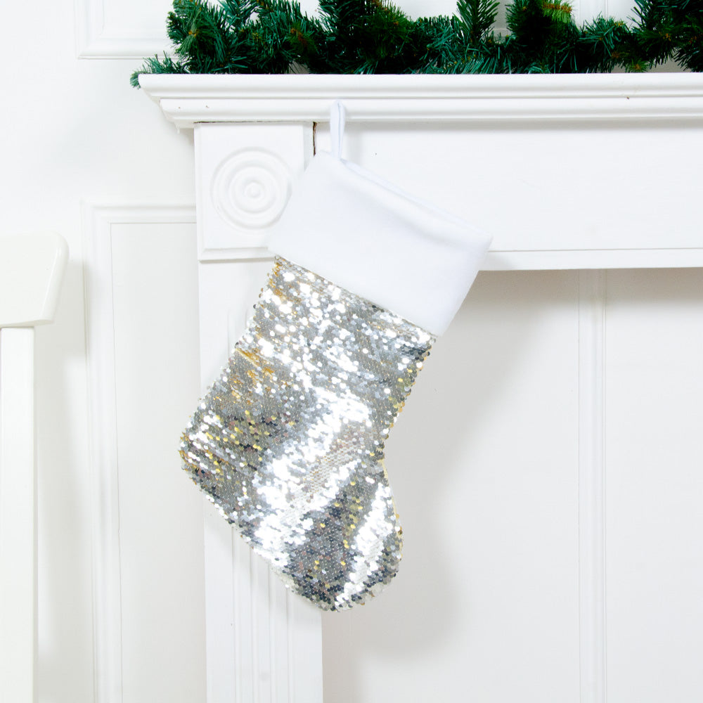 Two-Tone Sequin Christmas Stocking - Gold & Silver