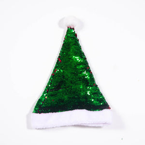 Two Tone Sequin Christmas Santa Hat - Red & Green