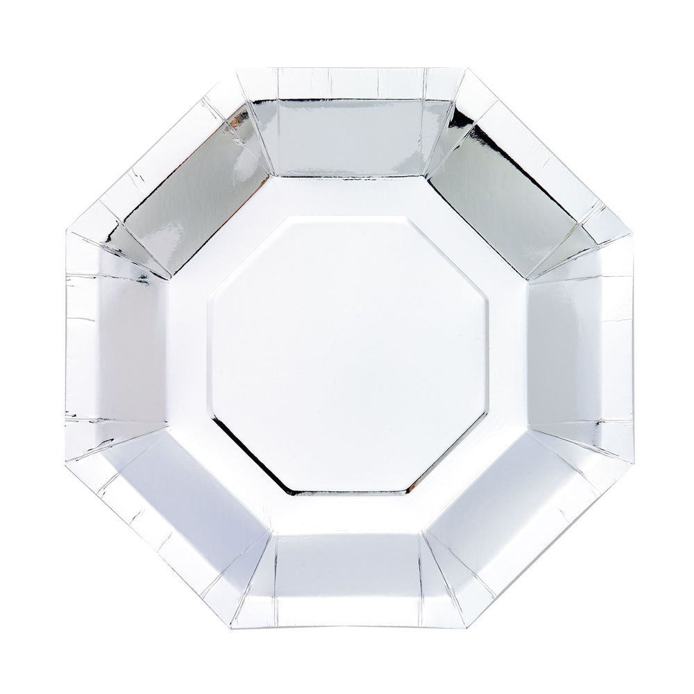 Octagon Shaped Paper Party Plate Silver (x8)