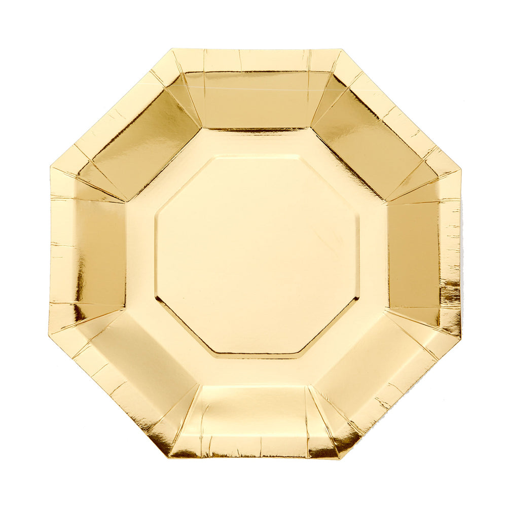 Octagon Shaped Paper Party Plate Gold (x8)