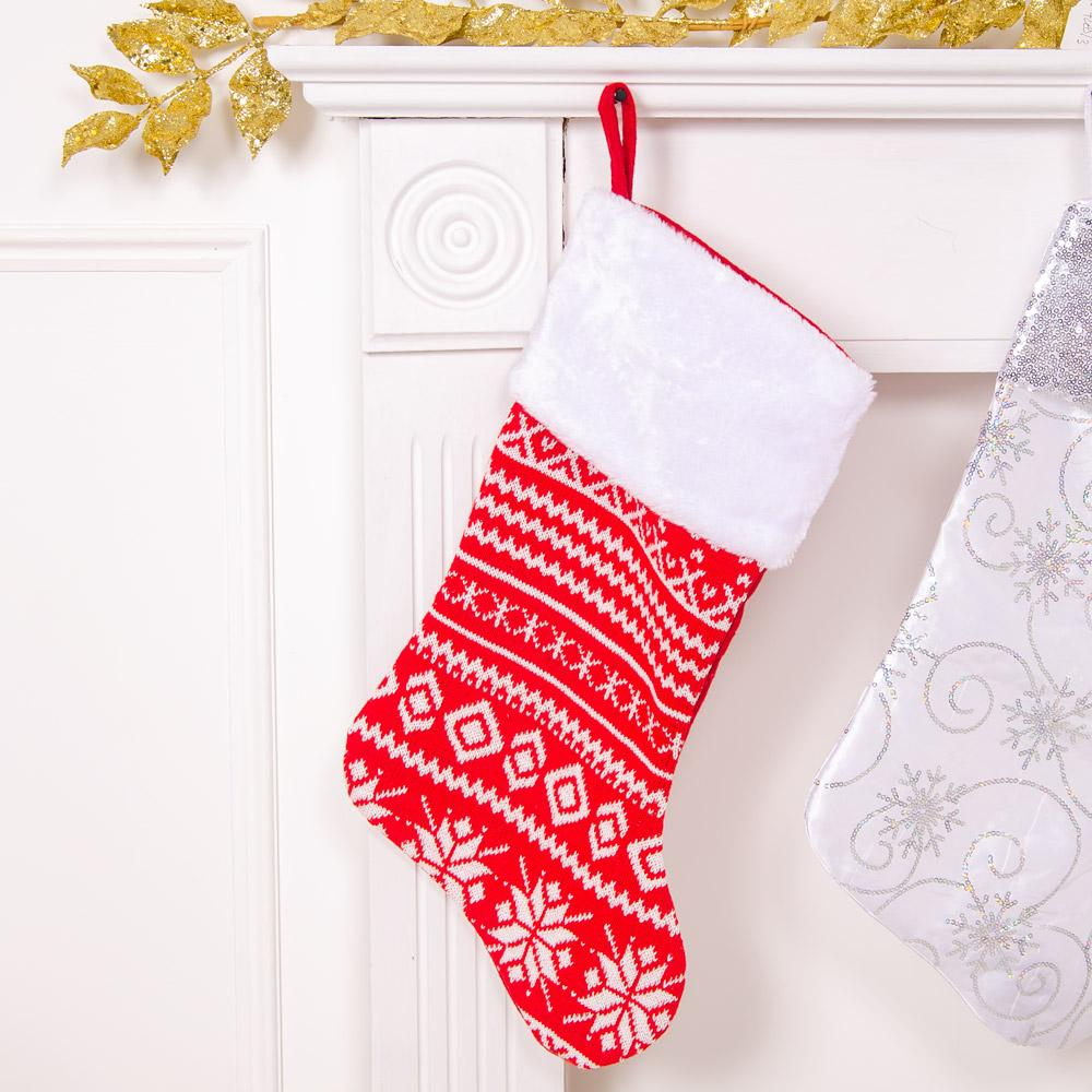 Red & White Knitted Stocking