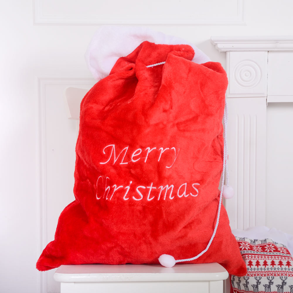 Embroidered Plush Santa Sack