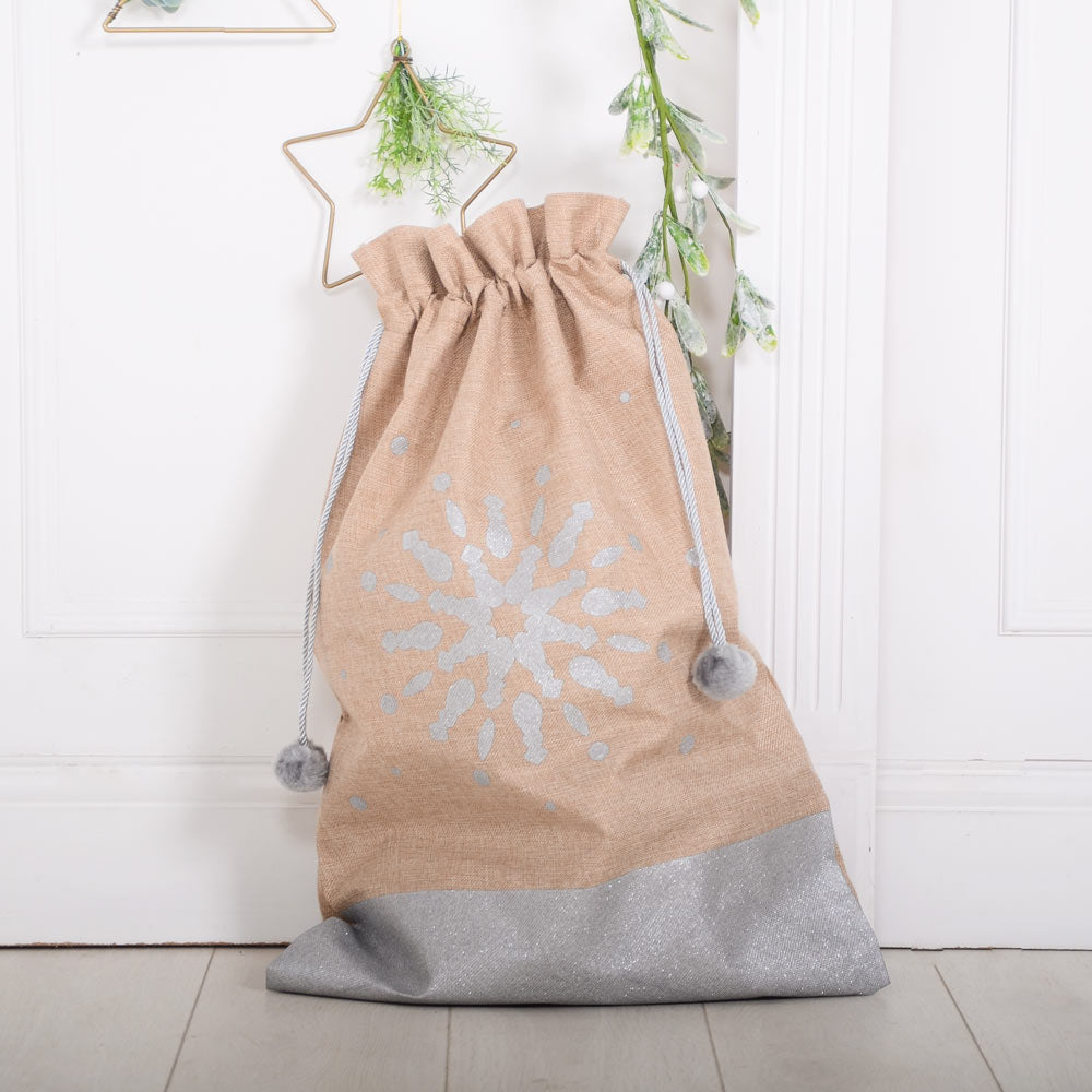 Christmas Hessian Glitter Sack