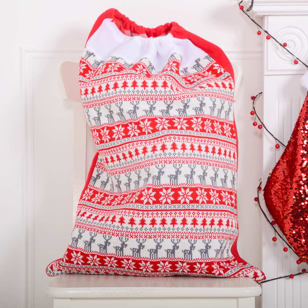 Deluxe Nordic Red Christmas Sack