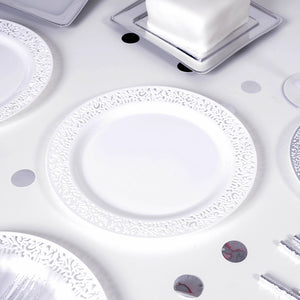 White Filigree Trimmed Reusable Plates 23cm(x4)