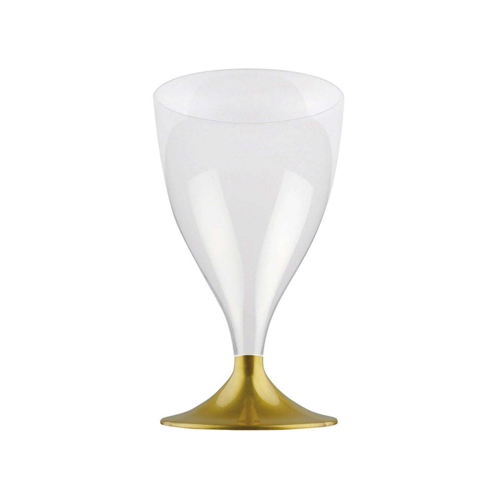 Reusable Plastic Wine Glass Gold (x10)