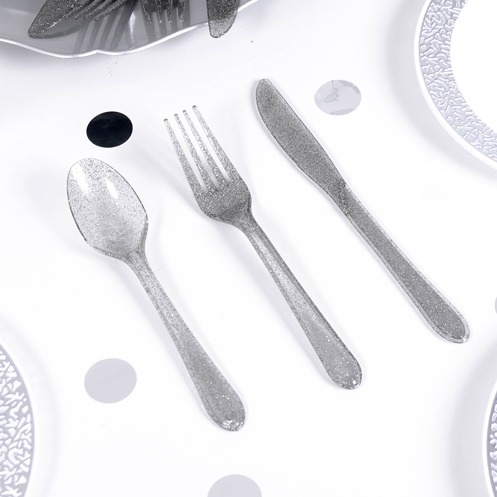 Glitter Party Cutlery - Silver (x24)