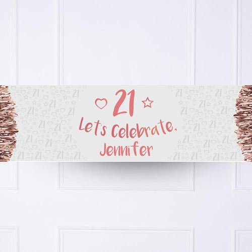 Rose Gold Any Age Personalised Party Banner
