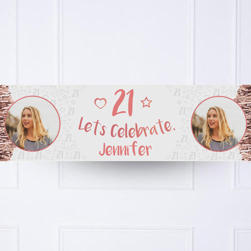 Click to view product details and reviews for Rose Gold Any Age Personalised Party Banner.