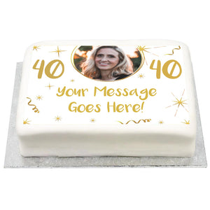Personalised Photo Cake - White & Gold Any Age Birthday