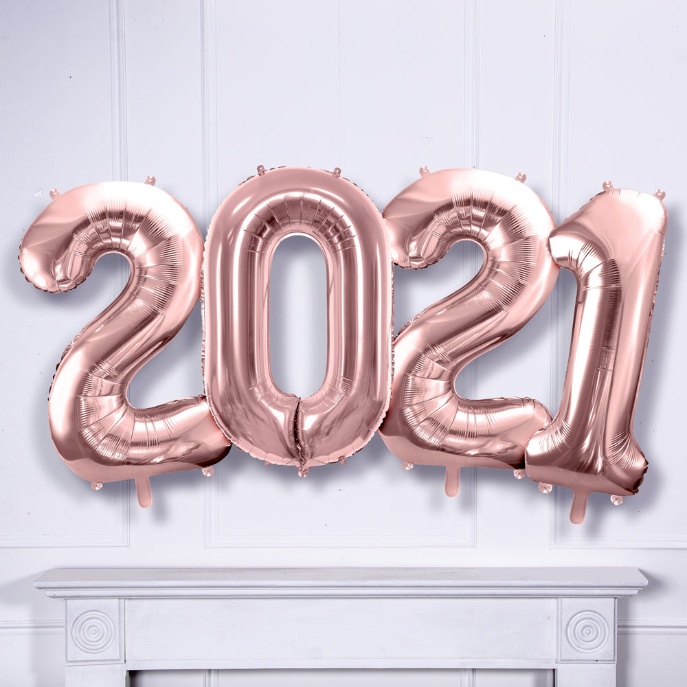 Supershape 2021 Foil Balloon Set Rose Gold
