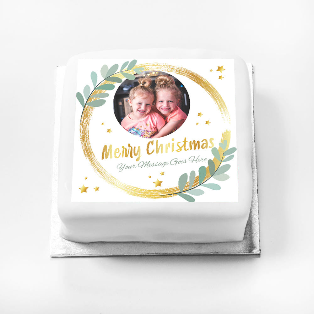 Personalised Gift Cake - Gold Sparkle Christmas