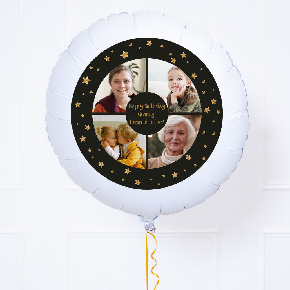 Personalised Photo Balloon – Black & Gold Stars