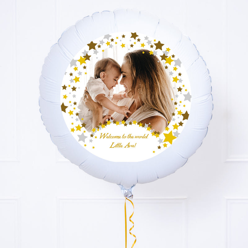 Personalised Photo Balloon – Metallic Confetti