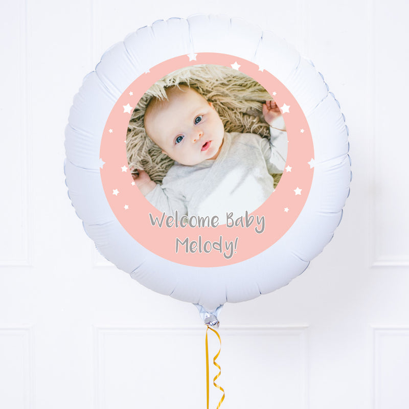 Personalised Photo Balloon – Pink Stars