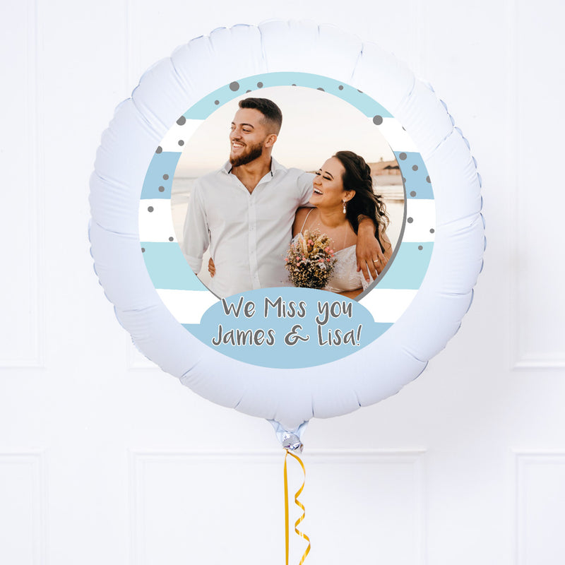 Personalised Photo Balloon – Blue Stripes