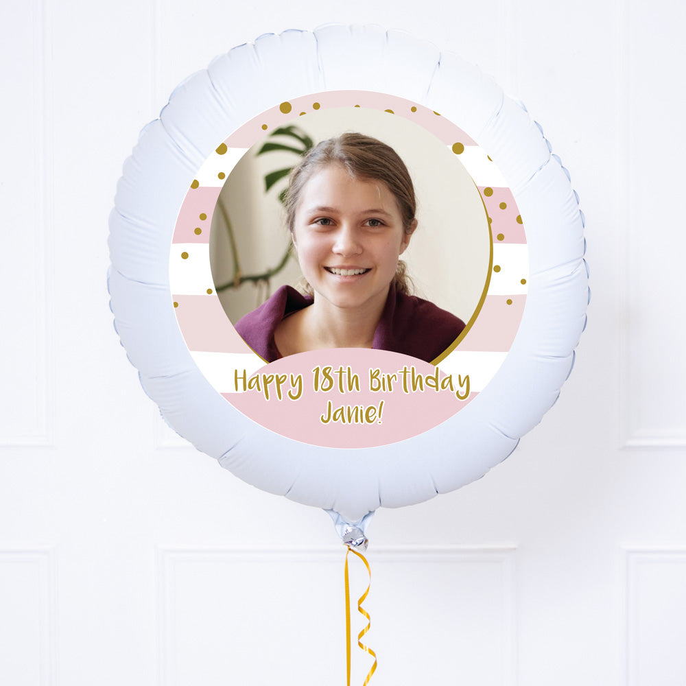 Personalised Photo Balloon – Pink Stripes
