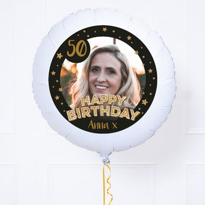 Personalised Photo Balloon - Any Age Birthday: Black & Gold Stars