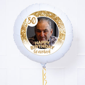 Personalised Photo Balloon - Any Age Birthday: White Lustre