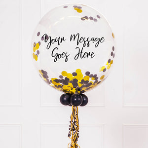 Personalised Bubble Balloon in a Box – Gold Deco