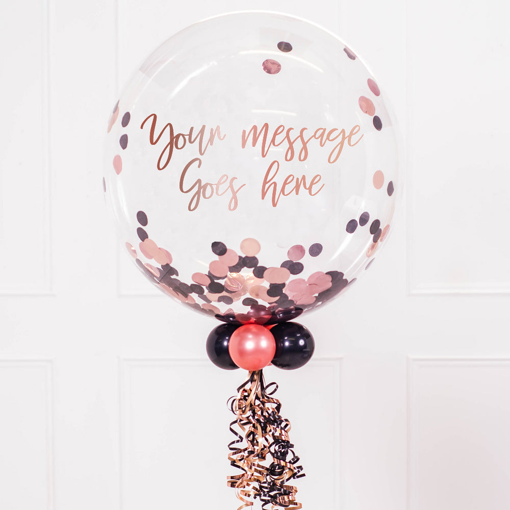 Personalised Bubble Balloon in a Box – Rose Gold Chic