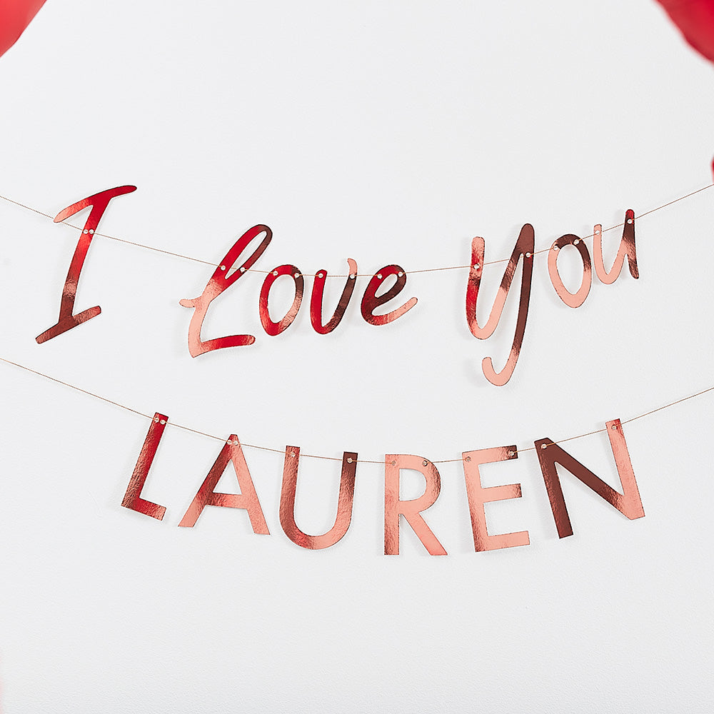 Customisable I love you Foiled Bunting