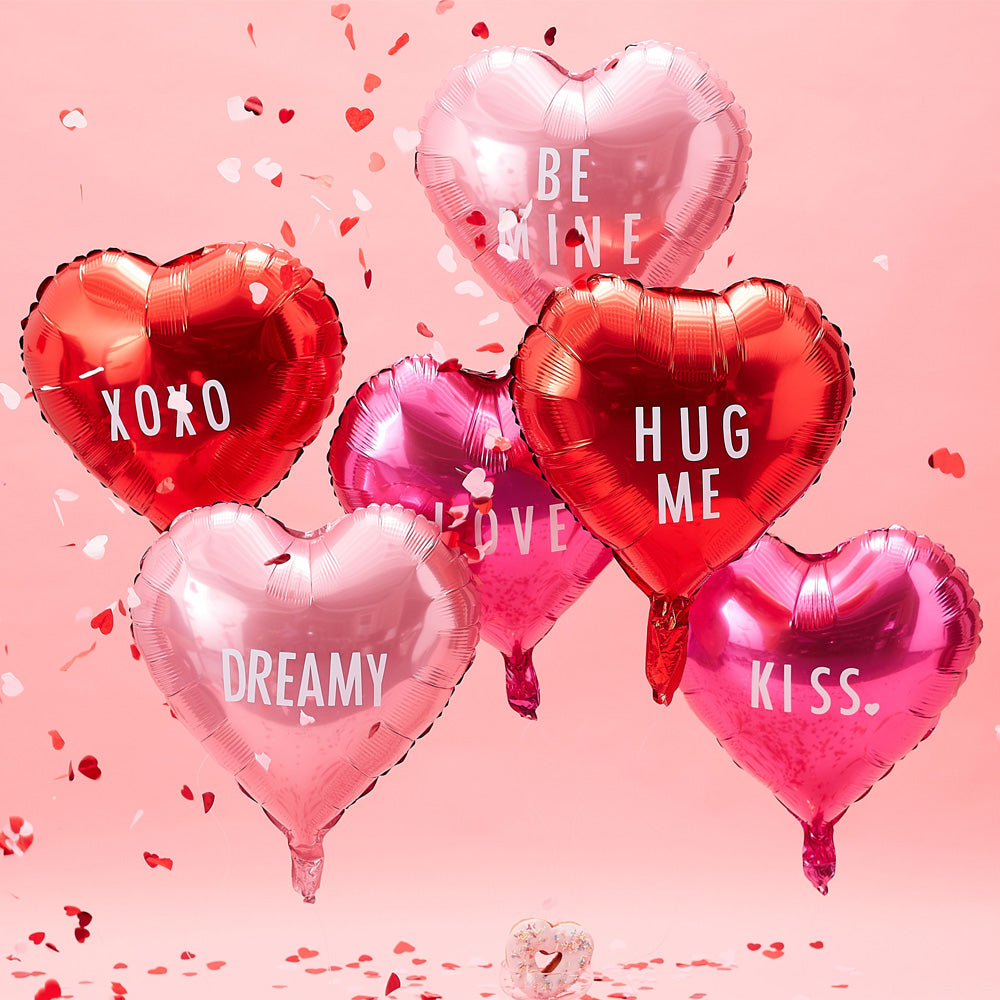Heart Foil Balloons With Stickers (x6)