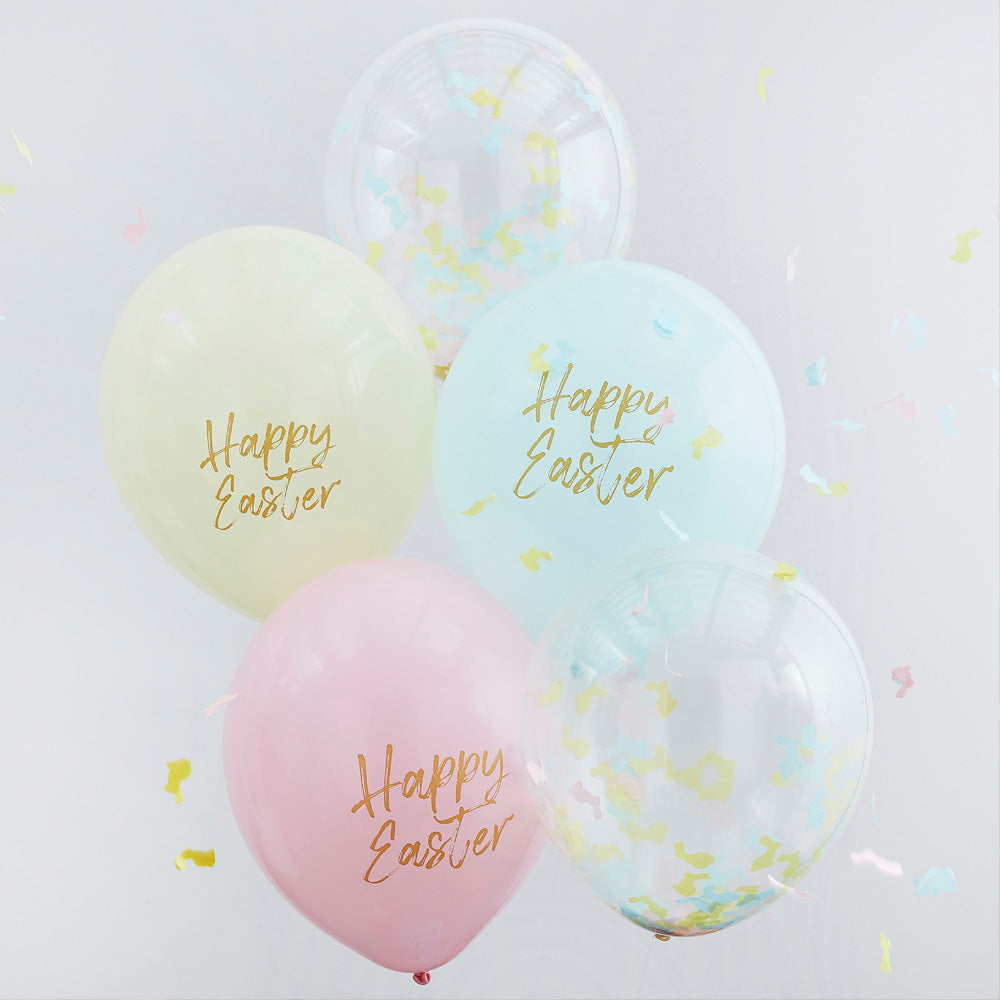 Happy Easter Pastel Balloon Mix (x5)