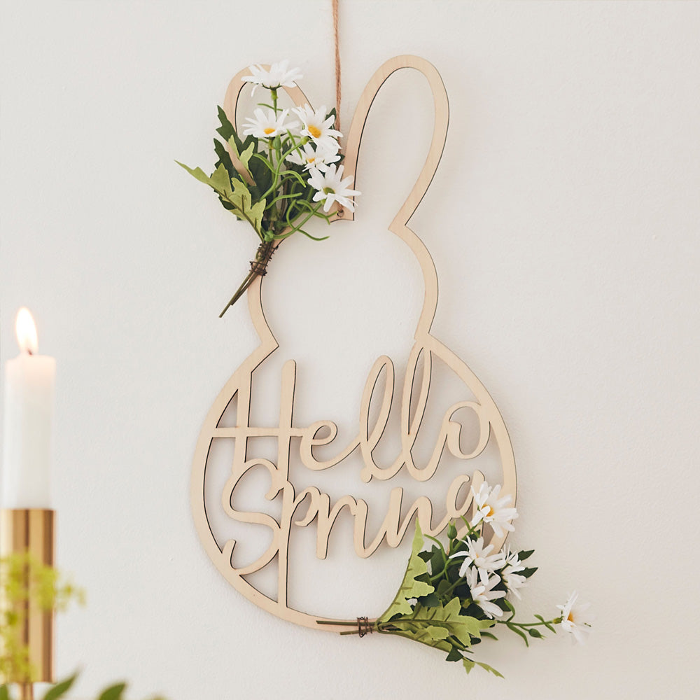 Wooden Easter Bunny Shaped Wreath
