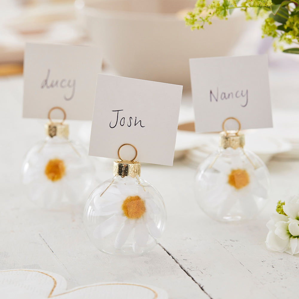 Daisy Filled Glass Bauble Place Card Holders (x6)